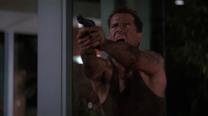John McClane draws his Beretta 92F in Die Hard
