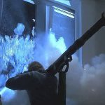 Terrorists fire a rocket launcher in Die Hard