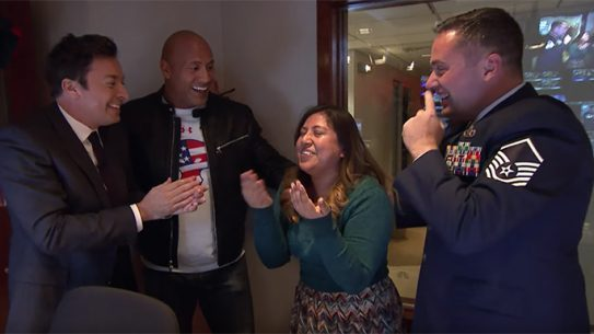 Jimmy Fallon The Rock surprise military vet