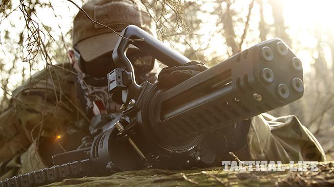 Empty Shell XM556 microgun aiming