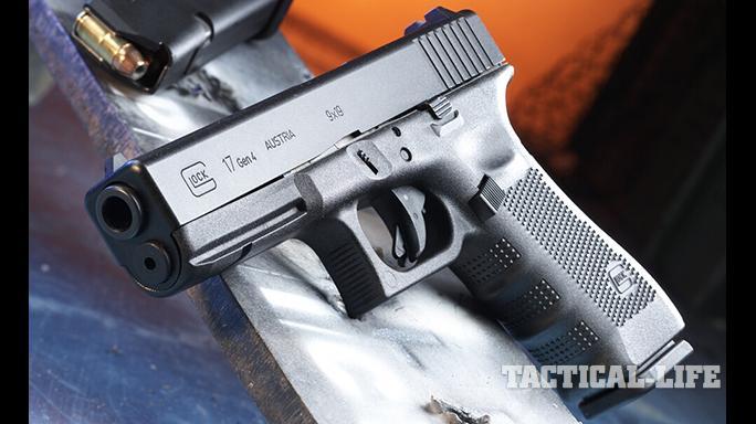 Glock 17 Gen4 pistol raised