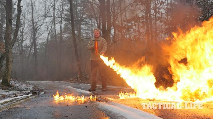 XM42 Flamethrower shooting