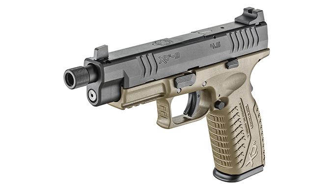 Springfield XDM 4.5 inch Threaded Barrel pistol left angle