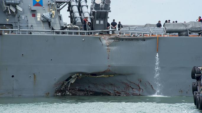 us navy ship john s mccain collision damage