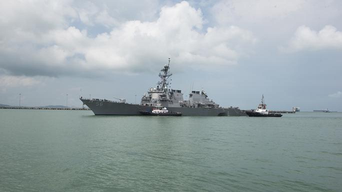 us navy ship john s mccain collision damage tugboats
