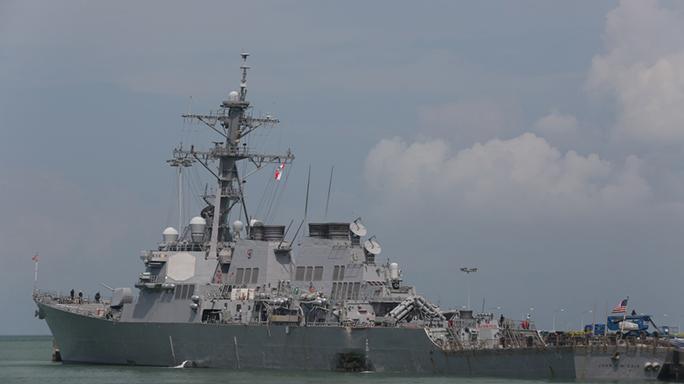us navy ship john s mccain collision damage moored