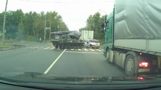 Russian BMD-4 Armored Vehicle car accident