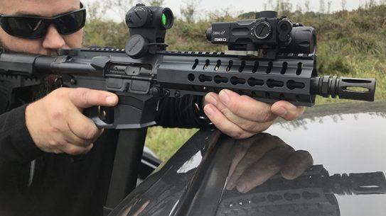 CMMG MkGs Guard rifle on car