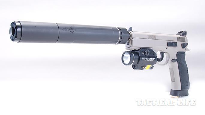 CZ SP-01 Tactical Urban Grey Suppressor-Ready pistol left angle