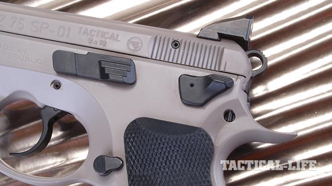 CZ SP-01 Tactical Urban Grey Suppressor-Ready pistol controls