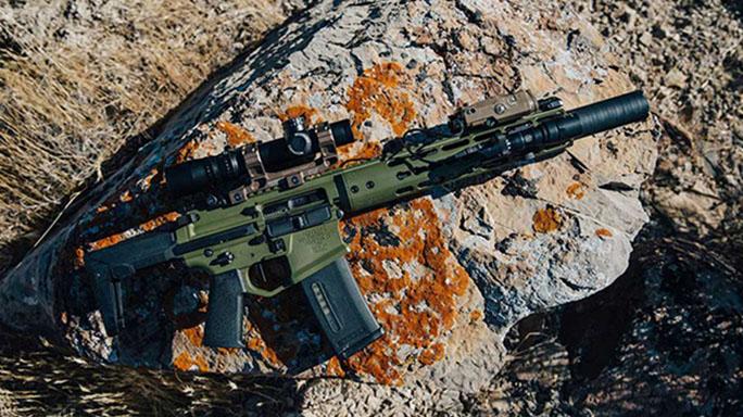 Noveske Ghetto Blaster Rifle on rock