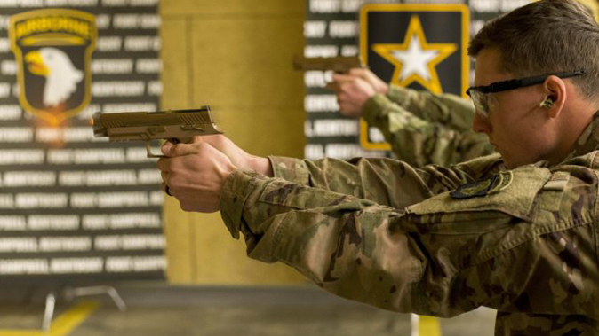 army MHS m17 pistol shooting