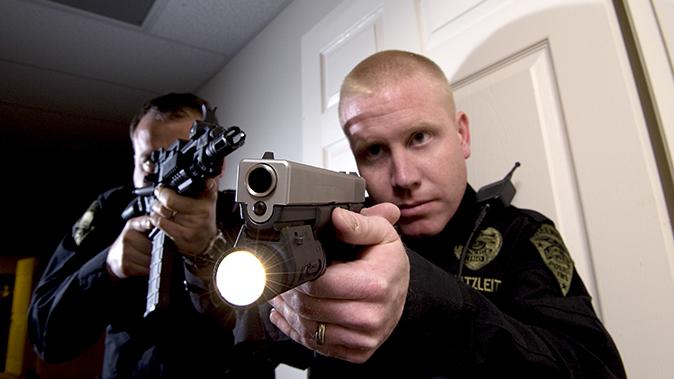 active shooter gun closeup