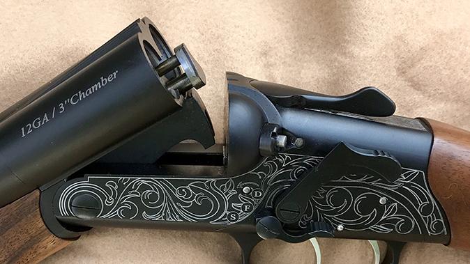 American Tactical Road Agent shotgun open barrels