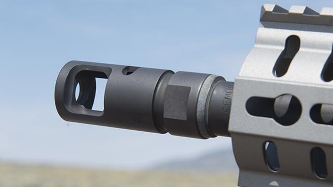 CMMG MkW-15 XFT2 rifle brake left angle