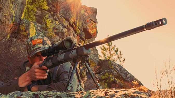 Nosler M48 Long Range Carbon rifle angle