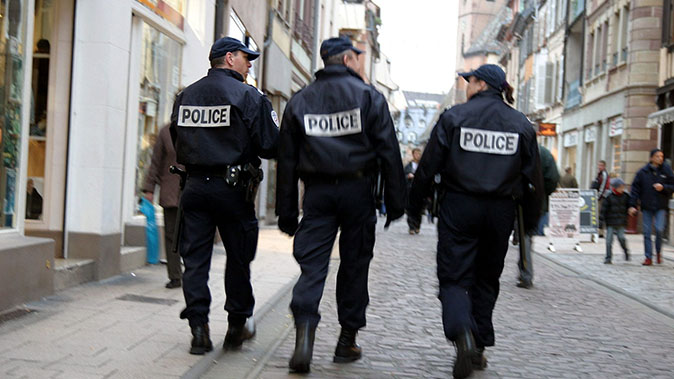french national police walking