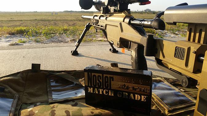 Steyr SSG 08-A1 rifle downrange shooting