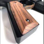 black wood usa english walnut grips smooth closeup