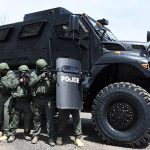 mrap vehicle police lined up