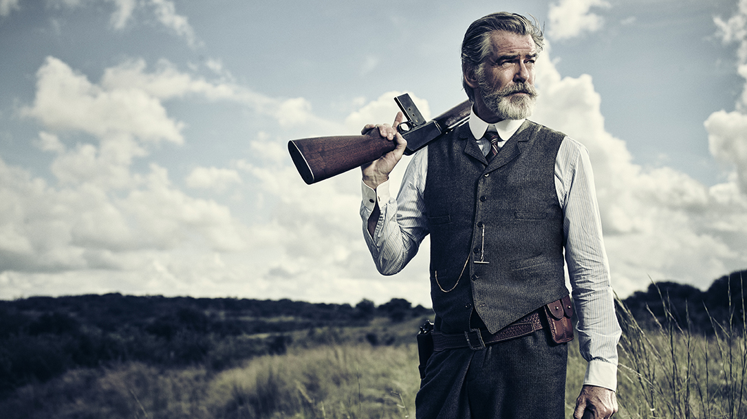 amc the son tv show pierce brosnan winchester model 1907 rifle