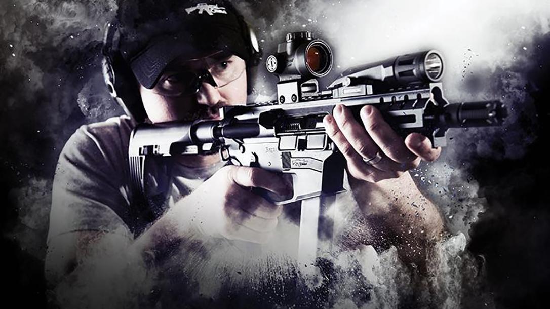 CMMG Banshee pistol aiming