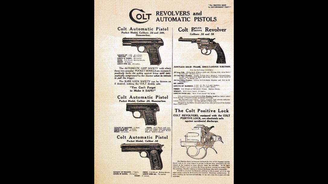 colt police positive revolver and auto pistols