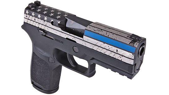sig sauer thin blue line p320 pistol right angle