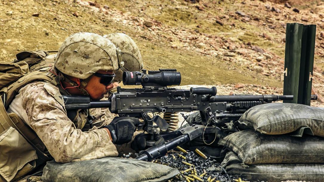 marines .50 caliber ammunition firing m2a1 rifle