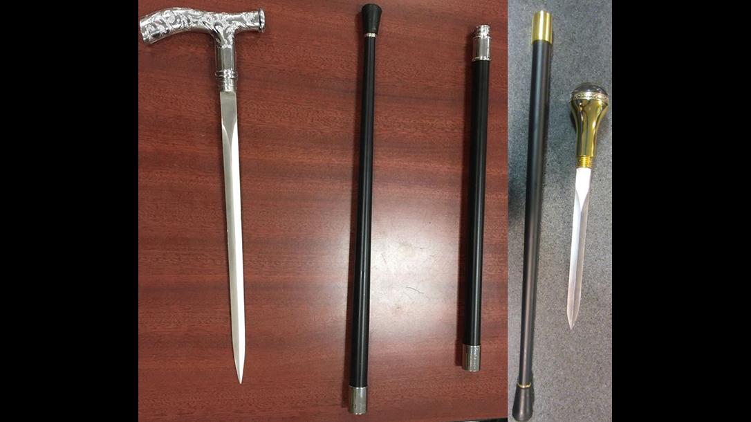 tsa airport guns swords canes