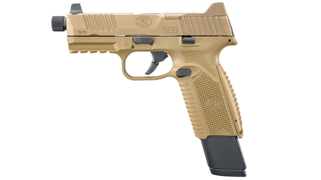FN 509 Tactical pistol extended mag left profile