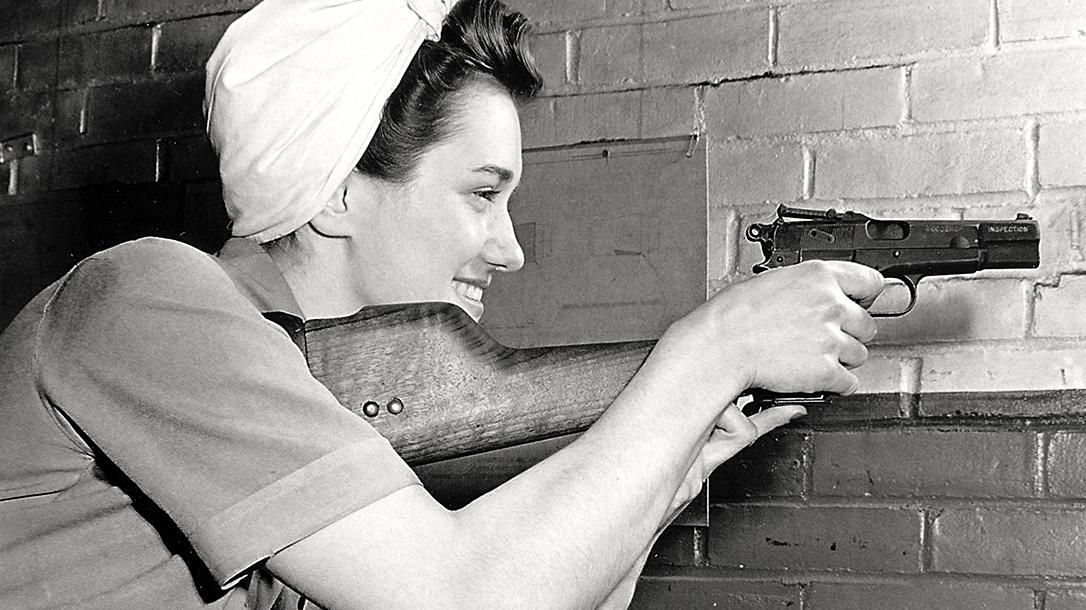 Inglis Hi-Power pistol aiming