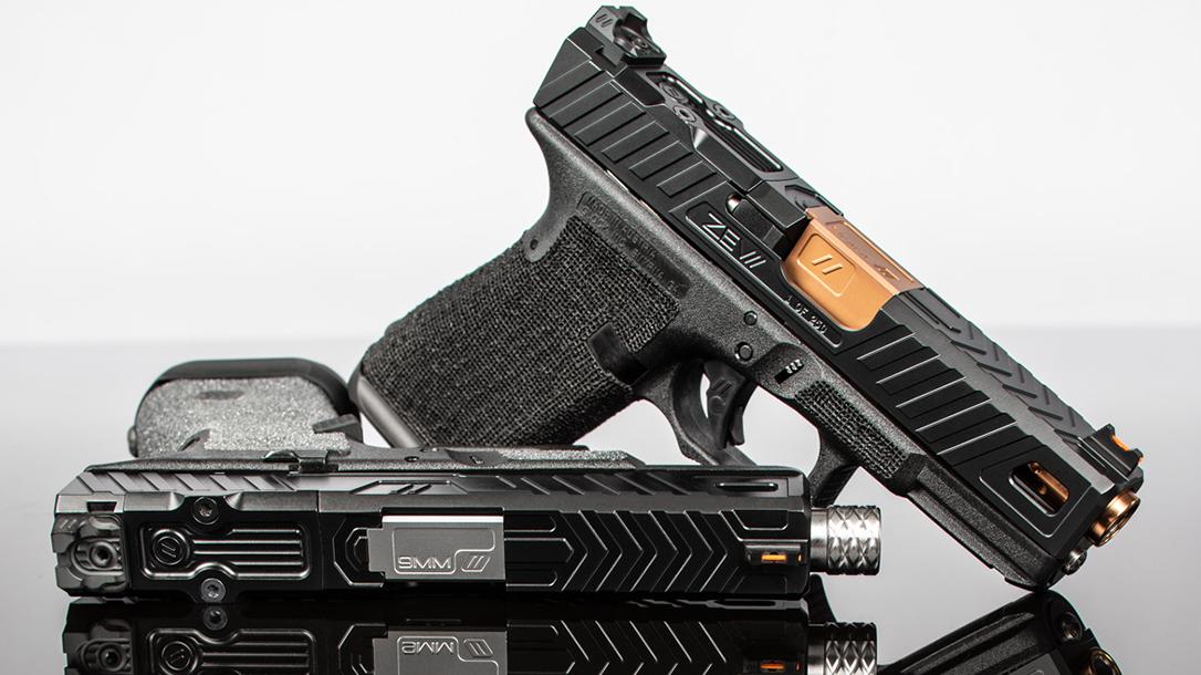 zev raven glock 19 slide white background