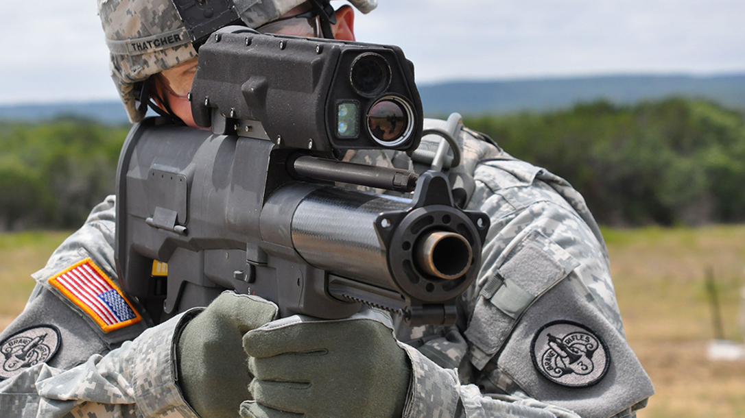 army xm25 weapon front angle