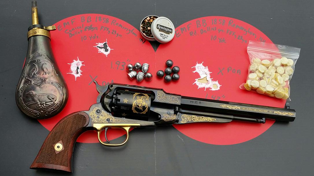 emf, 1858, buffalo bill commemorative, revolver, target