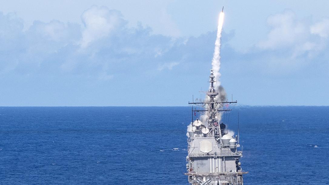 SM2 Missile Launch, USS Milius, Valient Shield 2018