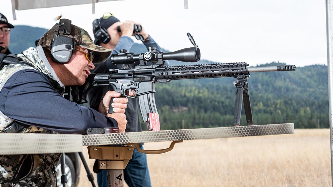 POF Renegade Plus SPR 224 Valkyrie rifle, aiming