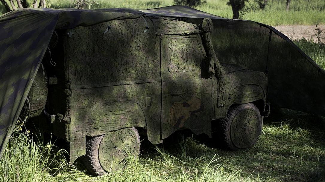 Fibrotex USA, U.S. Army,Next-Generation Ultra-Light Camouflage Netting System, jeep