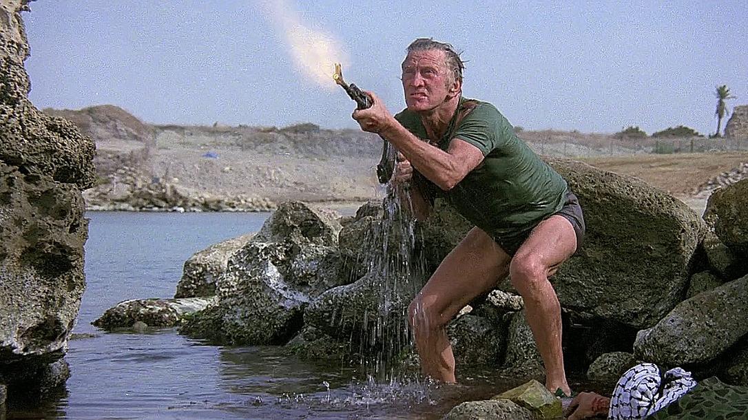Kirk Douglas shoots a Kalashnikov in The Fury