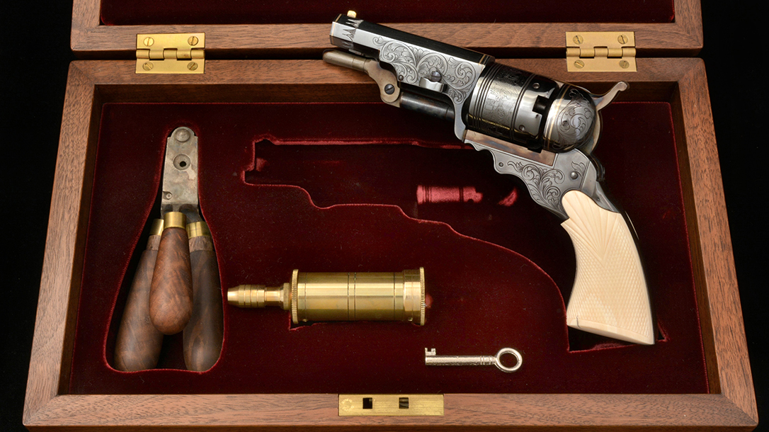 The last of the blued first-series America Remembers No. 2 Belt Model revolvers was used as a prototype for the second-series engraved, ivory-handles models introduced in 2004.