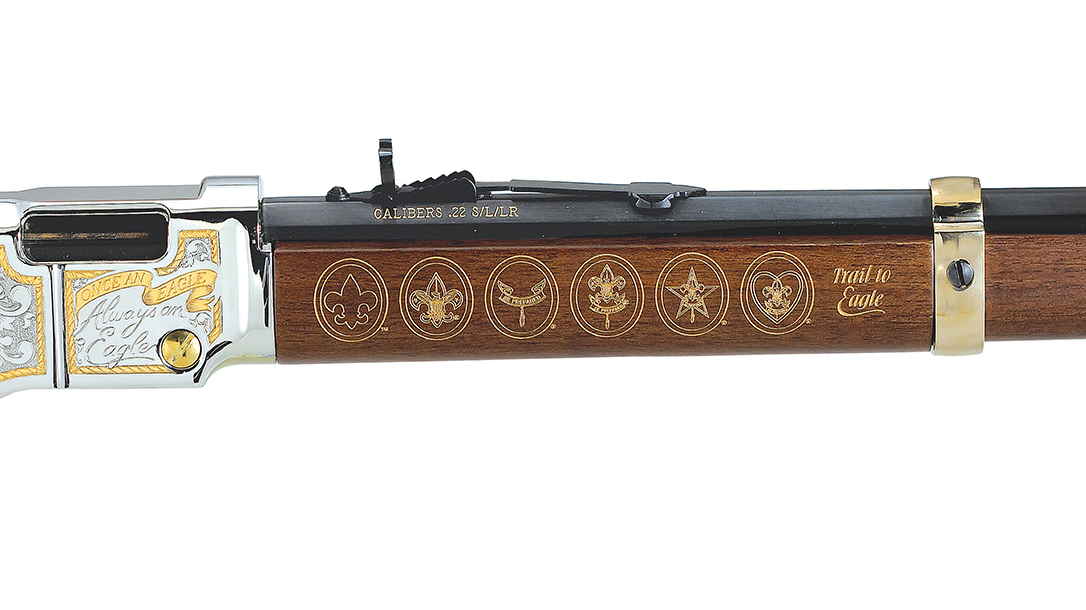 The Henry Eagle Scout features Scouting emblems on the forend.