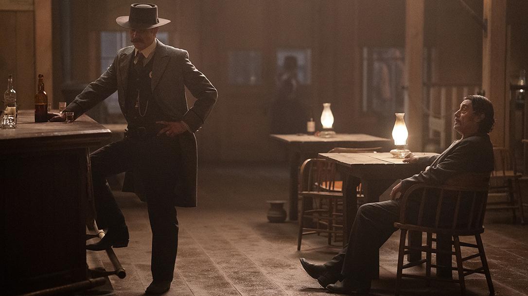 Seth Bullock and Al Swearengen in a pivotal scene.