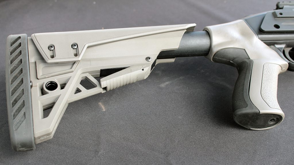The ATI Scorpion stock includes 6 positions and a thick rubber recoil pad.