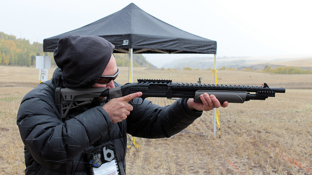 With the ATI Scorpion, the Mossberg 500 ATI Tactical tames much of the 12 gauge recoil.