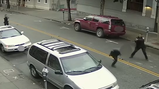 A suspect attacked SFPD officers with a bottle.