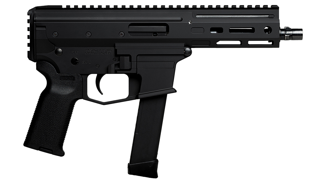 The gun features a roller-delayed action reminiscent of the HK MP-5.