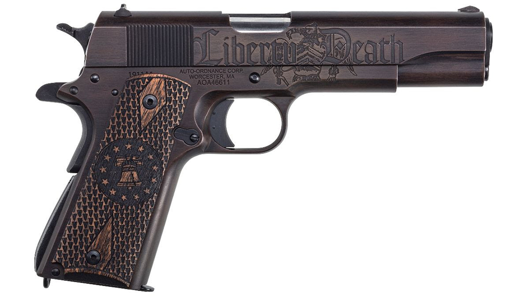 """The right side of the pistol features the words """"liberty ... death."""""""