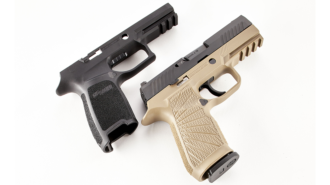 The non-serialized SIG P320 Grip Module upgrades the contract-winning pistol.