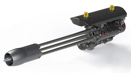The new Dillon Aero 503D features three barrels firing .50 BMG.