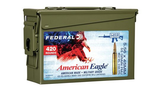 With 55- and 62-grain bullets loaded into reloadable brass, the new Federal MSR Ammo Can, in .223 Remington or 5.56x45mm, is perfect for all-day shooting.